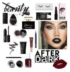 """""""Beauty after dark💋❤"""" by blackmind3 ❤ liked on Polyvore featuring beauty, Lime Crime, Essie, Kylie Cosmetics, Smashbox, NARS Cosmetics, Too Faced Cosmetics, Kat Von D, Bobbi Brown Cosmetics and beautyblender"""