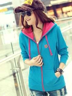 Wholesale Trendy & Personality Mixed colors Hooded Long Sleeve Short Coat----Blue  top dresses