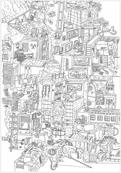 Meli Melo A Complex Coloring Page Where Is Waldo StyleFrom The Gallery Architecture LivingArtist Frederic Brogard