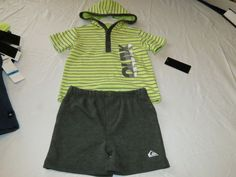 Quiksilver Boys baby youth hoody T shirt shorts set outfit 18 M month 4057033-99 #Quiksilver