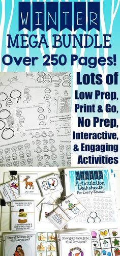 - This winter themed MEGA speech and language bundle targets articulation, receptive and expressive language and includes OVER 250 pages (NOT counting any black and white versions!) with 9 products and over 20 activities to use across your entire caseload! There are plenty of no print, low/no prep, and interactive activities to keep your students engaged! - Save 35%, $8.40 NOW!!