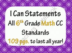 Sixth Grade Math I Cans - Not just a copy and paste job, these I Can Statements are broken down into kid-friendly language. 109 pages!. A GIVEAWAY promotion for 6th Grade Common Core Math I CAN statement posters (109 pages!) Polka Dot Theme from Mathematic Fanatic on TeachersNotebook.com (ends on 10-31-2013)