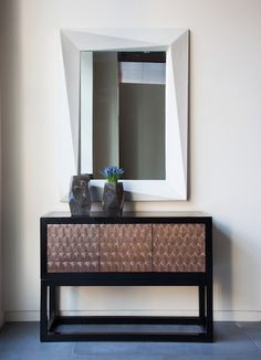 Fish Scale Design Cabinet, Smoked Crystal Faceted Vase, & Helix Mirror Dining Home Office Living Contemporary by Robert Kuo Scale Design, Cabinet Design, Decorative Objects, Contemporary Furniture, Home Office, Entryway Tables, Interior Design, Inspiration, Home Decor