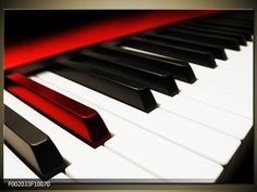 Foto canvas schilderij Piano | Kleur: Zwart, Wit, Rood | F002033