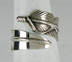 Authentic Native American Sterling Silver feather ring by Navajo Chris Charley