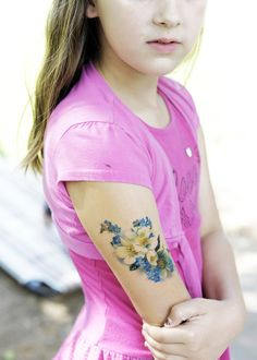 It's a fake tattoo!!Iwant a ton of these!!  vintage blue and white floral temporary tattoo by pepperink, $5.00