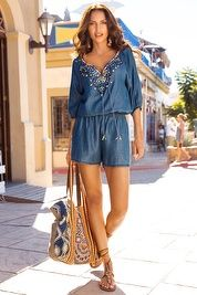 Embellished chambray romper