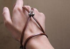 Leather Bracelet for Women - Beaded Bracelet - Rustic Jewelry - Handmade - Camel - Avant Garde - Jewelry - Brambuta by BRAMBUTA on Etsy