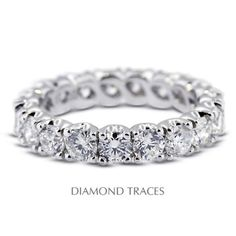 Diamond Traces UD-EWB302-4742 14K White Gold 4-Prong Setting 2.56 Carat Total Natural Diamonds Classic Eternity Ring, Women's, As Shown