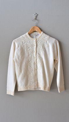 Snow Frond cardigan / cream wool 50s cardigan / by DearGolden, $84.00