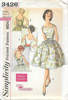 1960s Sleeveless Full Skirt Dress Simplicity 3426 Sewing Pattern, offered on Etsy by GrandmaMadeWithLove on Etsy