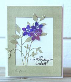 By Birgit Edblom (Biggan at Splitcoaststampers). Leaves die-cut from textured paper. Flowers die-cut or punched from designer paper. Flower middles could be Liquid Pearls?