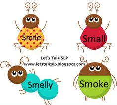 More Articulation Bugs from Let's Talk Speech-Language Pathology! Free downloads! Initial, medial, and final /r/, /s/, /l/, /f/, and /s/-blends. Also a free version of /k/, /g/, and /s/ in picture form - great for preschoolers!   - Re-pinned by @PediaStaff – Please Visit http://ht.ly/63sNt for all our pediatric therapy pins