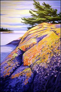 "colorful landscape painting ""Essex Island, Georgian Bay"" by Margarethe Vanderpas Canadian Painters, Canadian Artists, Abstract Landscape, Landscape Paintings, Illustrations, Illustration Art, Gravure, Art World, Beautiful Landscapes"