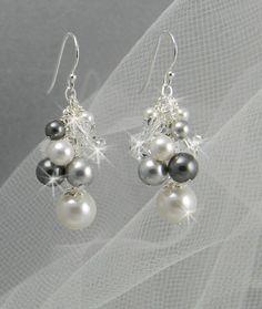 Bridal Pearl Earrings, Cluster Long Dangle Drop Crystal Wedding Earrings, Bridesmaids, Silver  Gray Black, Lillian Black white Earrings. $33.00, via Etsy.