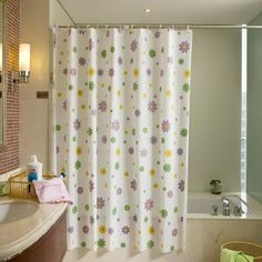 Home decoration bathroom shower curtain explosion waterproof and mildew whitewashed purple flowers thick PEVA shower curtain