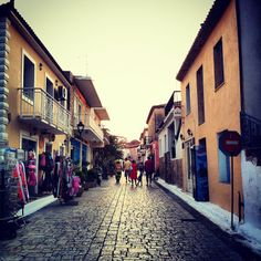Main street in Finikounda, Messinia, Greece Flickr photo Enjoy Your Life, Main Street, Bridges, Roads, Cottages, Adventure Travel, Travelling, Greece, Beautiful Places