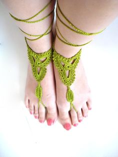 Crochet Barefoot Sandals Nude shoes Foot jewelry by AllSoCute, $15.00