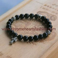 Chrome Hearts Cross Pendant Black Onyx Beads Bracelet
