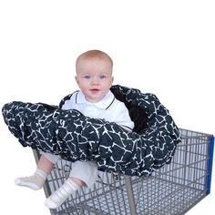 Floppy Seat Deluxe Velboa Shopping Cart and High Chair Cover with Messenger Bag, Black Giraffe