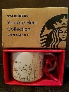 2014 STARBUCKS Coffee You Are Here 2oz Mini Mug CALIFORNIA Holiday Ornament