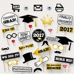Graduation Photo Booth Printable Props 2017 di SurpriseINC