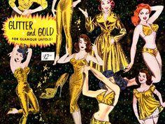 Gold Lurex! Vintage Frederick's of Hollywood 50s 60s dress pants jump suit bathing suit lingerie
