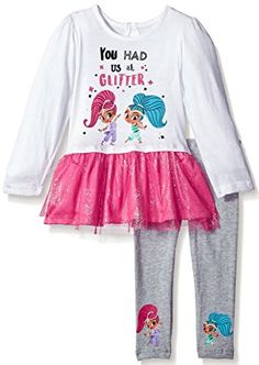 Nickelodeon Girls' Toddler Shimmer and Shine You Had Me at Glitter Legging Set Tunic Leggings, Girls In Leggings, Tops For Leggings, Girls Pants, Dresses With Leggings, Baby & Toddler Clothing, Toddler Girls, Nickelodeon Girls, Glitter Leggings