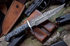 Custom Handmade Damascus SNAKE EATER Tactical Fighter Bowie Military Knife by ComeandTakeThem on Etsy