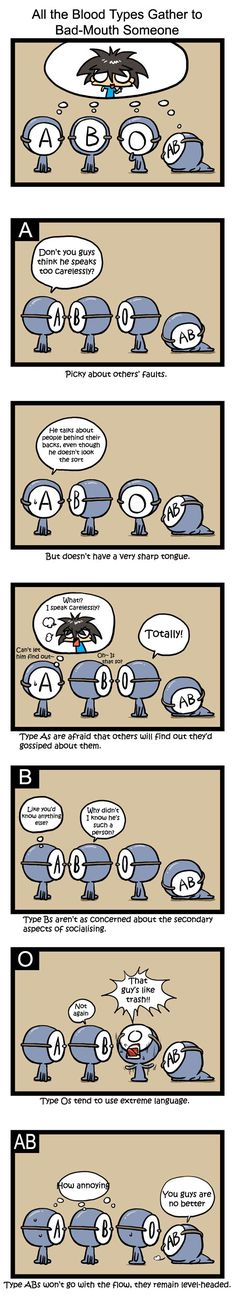 RealCrazyMan's Blood Types Comic: Gossip