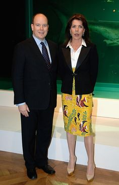 PogglePoppy:  Prince Albert and Princess Caroline attend the opening of the Damien Hirst Exhibition on March 30, 2010 in Monaco.