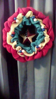 July 4th Burlap Wreath.       Etsy.com/shop/2HeartsAs1