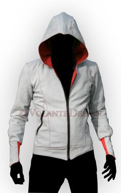 Volante Design   Assassin Jacket. The most basic, and yet most iconic modern assassin hoodie. Clean lines, bracers, the basic peaked hood, a slight secondary collar, zippered pockets and colored gussets.