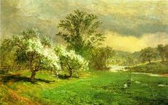 Apple Blossom temps de Jasper Francis Cropsey (1823-1900, United States)