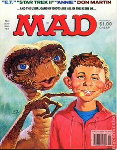 If can believe it, this month marks MAD Magazine's year of bringing comedy, pop culture satire, and high-quality potty humor to America. Cartoon Wallpaper, Satire, Comic Book Covers, Comic Books, Mad Magazine, Magazine Covers, Magazine Rack, Star Trek Ii, Culture Pop