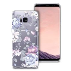 Samsung S8 Case, [Full Coverage Screen Protector Included-NOT Glass] CasesByLorraine Purple Floral Flower Clear Transparent Case Flexible TPU Soft Gel Protective Cover for Samsung Galaxy S8 (I33) http://amzn.to/2qhafVv #Samsung #Samsung_GalaxyS8 #Samsung_Case #Samsung_GalaxyS8_Case #Floral