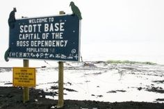 Scott Base sign on the road to McMurdo Station on the Antarctica.