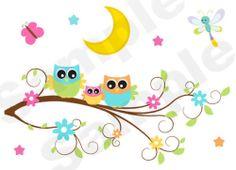 OWL TREE BRANCH WALL MURAL DECALS BABY GIRL NURSERY KIDS ROOM STICKER HOME DECOR