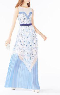 Katherine Palms Print-Blocked Pleated Dress