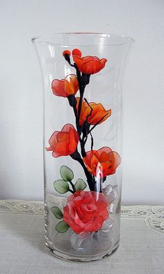 Handmade Small Pink and Red-Yellow Roses Arrangement in Glass