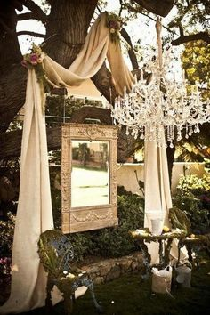 GORGEOUS use of fabric, mirror, and chandelier for an outdoor wedding decor Outdoor Wedding Altars, Wedding Ceremony, Rustic Wedding, Outdoor Ceremony, French Wedding, Elegant Wedding, Wedding Vintage, Rustic Outdoor, Outdoor Weddings