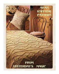 Instant Download PDF Vintage Seventies Knitting pattern to make an Aran Textured Bedspread Blanket and Cushions Rustic Country Cottage