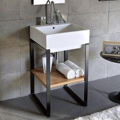Industrial chic style basin from Studio Bagno Basin Vanity Unit, Basin Sink Bathroom, Vanity Units, Inset Basin, Timber Shelves, Concrete Basin, Glass Basin, Pedestal Basin, Industrial Chic Style