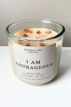 "Affirmation Candle – Perfect Handmade Gift Carnelian crystal infused soy candle with the affirmation ""I Am Courageous. Perfect floral candle for Spring! Candle Packaging, Candle Labels, Candle Jars, Candle Craft, Candle Spells, Soy Wax Candles, Diy Candles, Scented Candles, Handmade Candles"