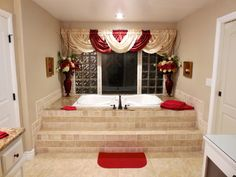 Your HUGE jacuzzi bathroom tub bath wedding venue red Victorian with 2 person shower