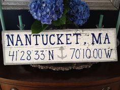 #Nantucket #ack #nantucketcoordinates #ackhomedecor #housewarminggift #nantucketwoodensign Hand painted wooden signs by www.TotallyADrift.com whitewash/grey border/navy text