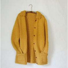 RESERVED vintage 1970s MUSTARD YELLOW chunky hand knit cardigan... ($48) ❤ liked on Polyvore featuring tops, cardigans, outerwear, jackets, sweaters, brown cardigan, mustard yellow top, long sleeve cardigan, mustard yellow cardigan and hand knit cardigan
