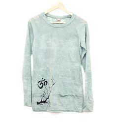 sea-foam green -  yoga clothes - long sleeve - burnout fabric -om and cherry blossom by heidiroland on Etsy https://www.etsy.com/listing/175633907/sea-foam-green-yoga-clothes-long-sleeve