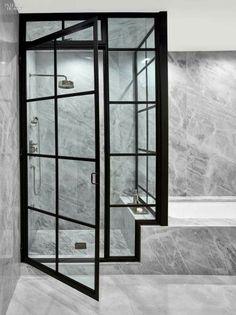 Glass door/black trim/marble