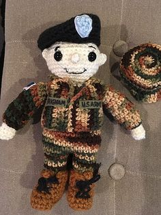 I was missing my son while he was in Boot Camp training with the U.S. Army and this little idea just came over me. I had a nice 3 day weekend off work to make something for myself for a change. I was so pleased with the results that I decided I should publish it in case any other crocheters might be interested in making one too! I'm rather proud of this little guy (well, I'm proud of my real soldier too) I hope you enjoy!